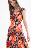Stretch dress with floral print, Black, hi-res