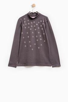 Stretch cotton diamanté T-shirt, Slate Grey, hi-res