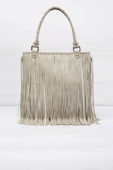 Shoulder bag with fringe, Cream White, hi-res
