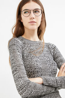 Patterned knitted pullover in 100% cotton, Black/White, hi-res