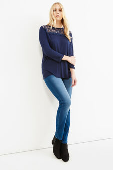 Curvy T-shirt in 100% viscose with lace inserts, Dark Blue, hi-res