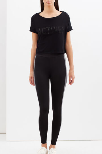 Cropped sports T-shirt with print, Black, hi-res