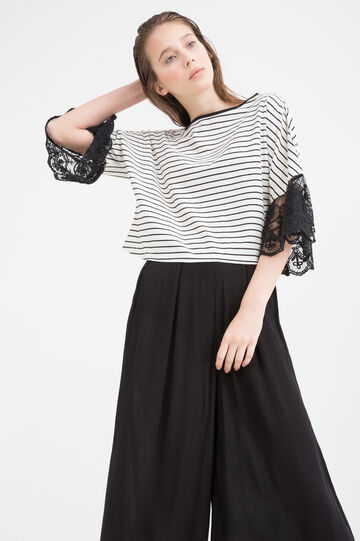 Striped cotton T-shirt with lace., White/Black, hi-res