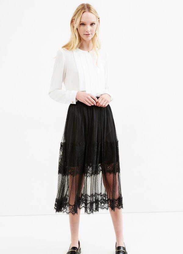 Falda midi de encaje con forro | OVS