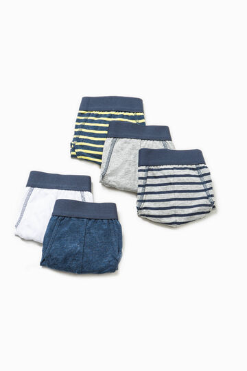 Five-pack solid colour and striped briefs