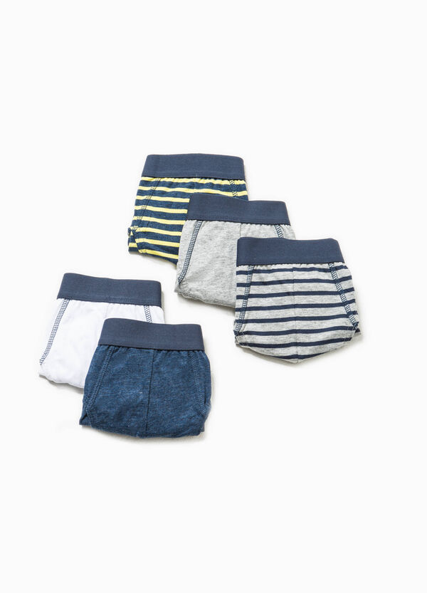 Five-pack solid colour and striped briefs | OVS