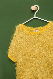 Knitted short-sleeved pullover, Yellow, hi-res