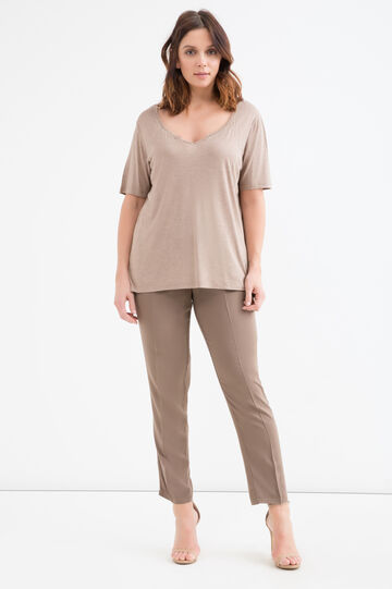 Curvy lurex T-shirt in viscose., Khaki, hi-res