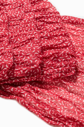 Patterned scarf in contrasting colour, Grey/Red, hi-res