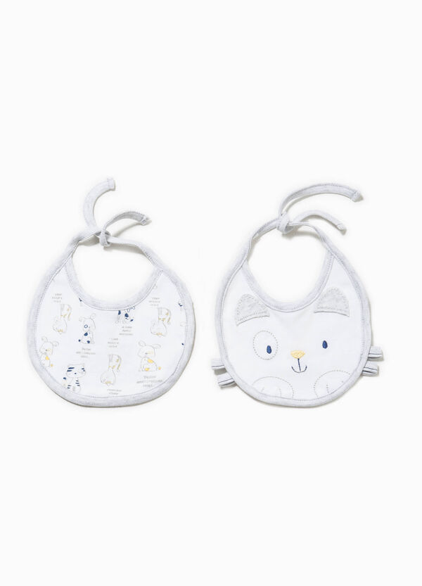 Two-pair pack patterned and embroidered bibs | OVS