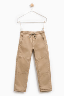Cotton trousers with elasticated waistband, Light Brown, hi-res
