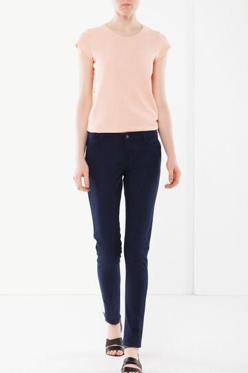 Pantaloni stretch con zip, Blu scuro, hi-res