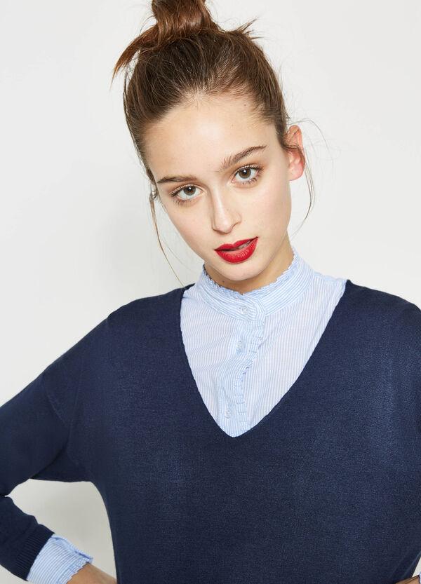 Jersey con canalé y cuello de pico | OVS