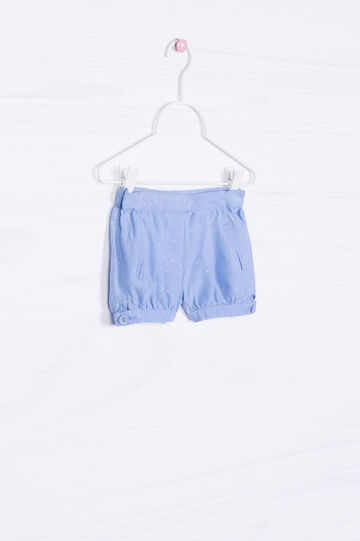 Cotton patterned shorts, Blue, hi-res