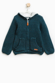 Wool blend knit hoodie, Teal Green, hi-res