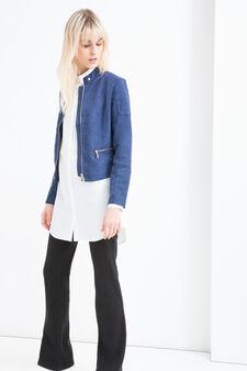Suede look jacket, Blue, hi-res