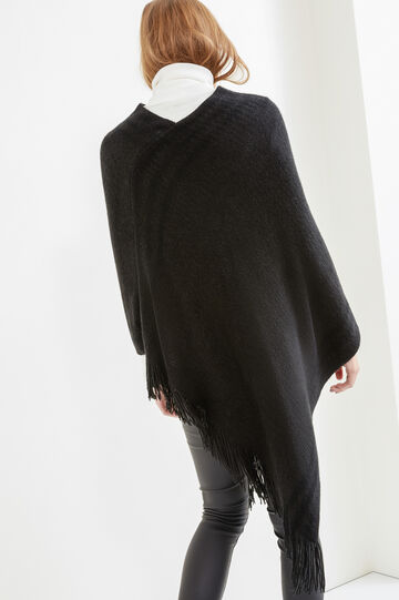 Knitted poncho with long fringing, Black, hi-res