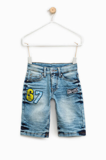 Stretch denim Bermuda shorts with patches, Light Wash, hi-res