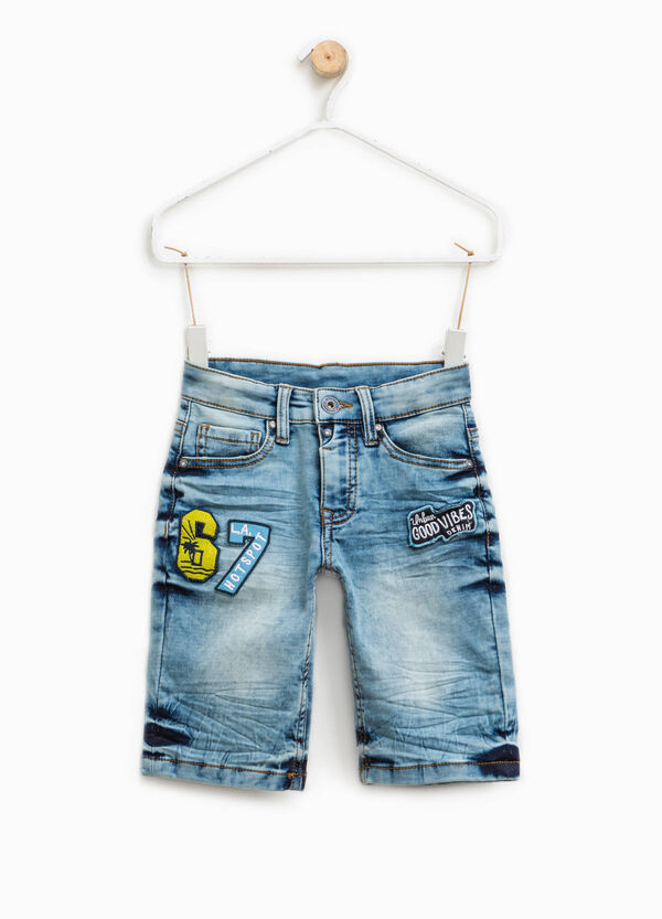 Stretch denim Bermuda shorts with patches | OVS