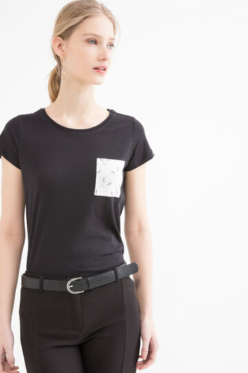 100% cotton T-shirt with small pocket, Black, hi-res