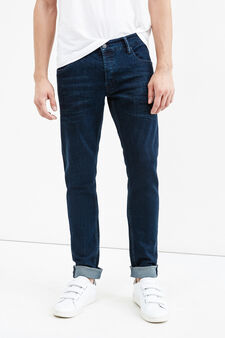 Skinny-fit stretch jeans with whiskering, Dark Wash, hi-res