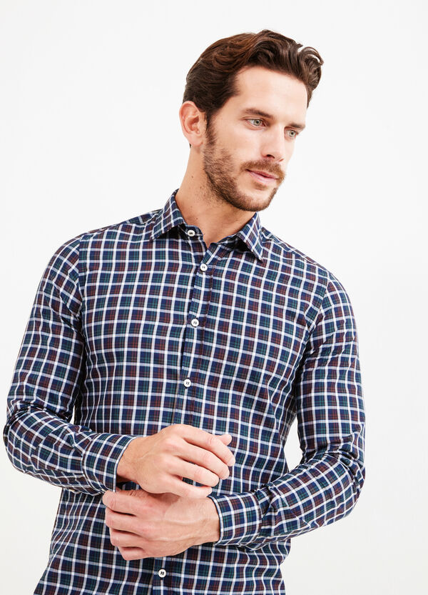 Slim-fit check Rumford shirt in cotton | OVS
