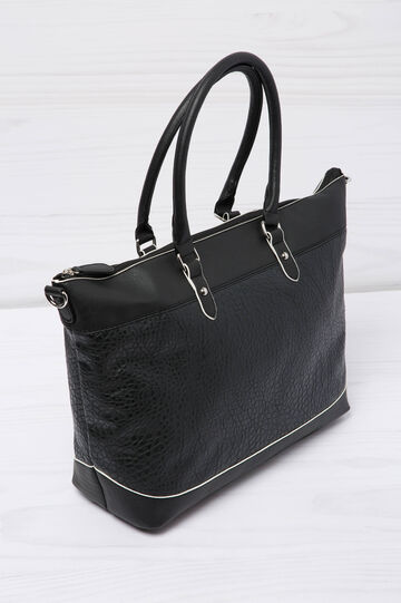 Leather look shopping bag, Black, hi-res