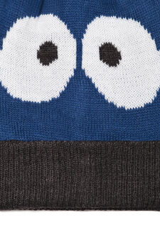 Beanie cap with pompom, Blue, hi-res