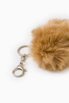 Fur pompom keyring, Light Brown, hi-res