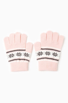 Solid colour gloves with embroidery, Pink, hi-res