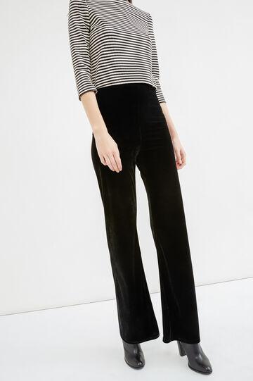 Flared velvet trousers, Black, hi-res