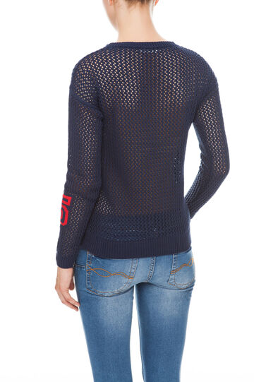 Pullover in maglia traforata, Electric Blue, hi-res