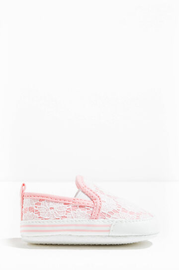 Slip-ons with lace, White/Pink, hi-res