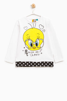 Cotton T-shirt with glitter Tweetie Pie print, White/Black, hi-res