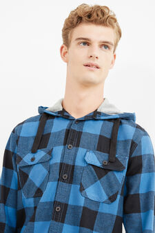 Casual check shirt in 100% cotton, Black/Blue, hi-res