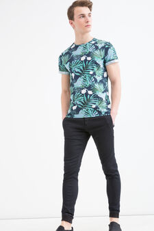 Printed cotton blend T-shirt, White/Green, hi-res