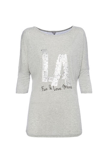T-shirt con paillettes Smart Basic, Grigio, hi-res