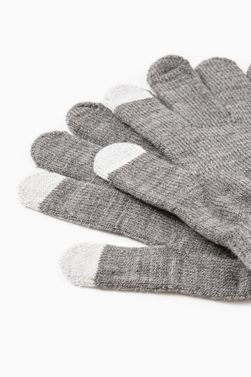 Solid colour gloves for touch screen, Grey Marl, hi-res