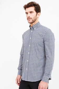 Check formal shirt in 100% cotton, Blue/Grey, hi-res