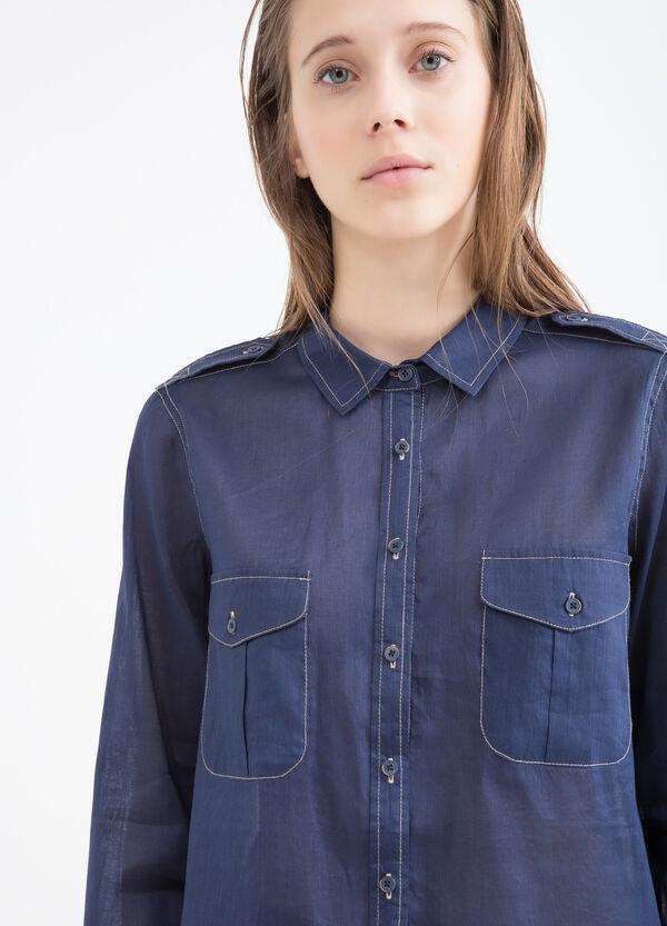 Linen blend shirt with pockets   OVS