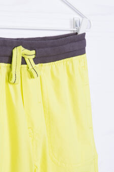Bermuda shorts in 100% cotton with ribbing, Yellow, hi-res