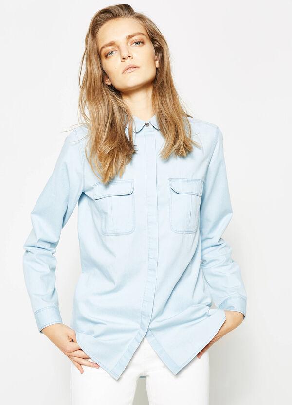 Camisa en algodón 100% con bajo redondeado | OVS