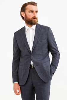Elegant, custom-fit check suit, Grey, hi-res