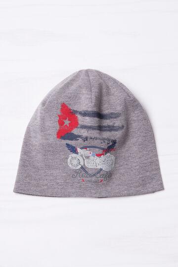 Solid colour beanie cap, Grey, hi-res