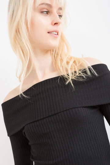 Viscose blend crop top with flap, Black, hi-res