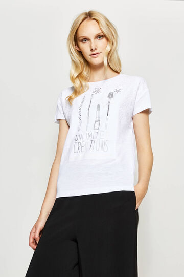 T-shirt with glitter print and diamantés