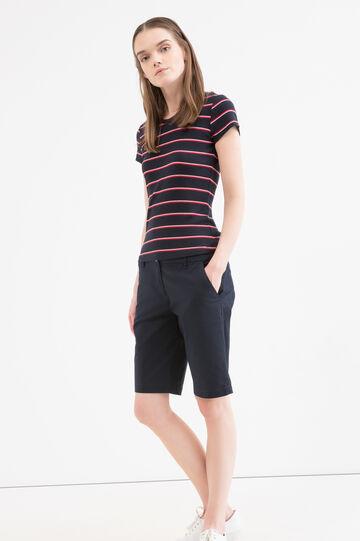 Stretch cotton bermuda with pockets, Navy Blue, hi-res