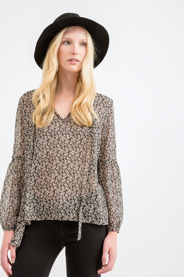 Blouse with tie and all-over print, Black, hi-res