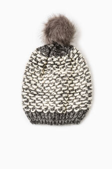 Beanie cap with fur pompom, Grey, hi-res