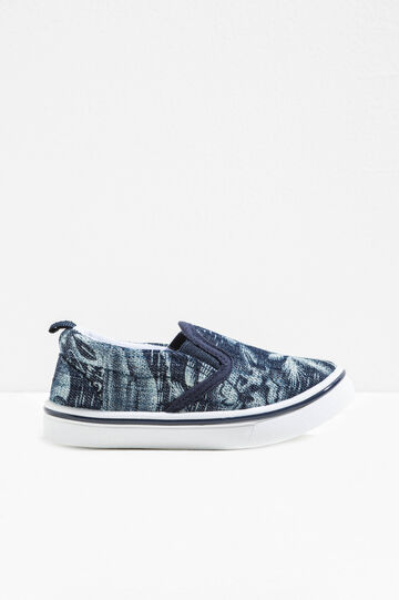 Patterned slip-on with canvas upper, Blue, hi-res